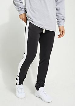 Black Color Block Side Stripe Tricot Pants
