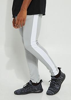Gray Color Block Side Stripe Tricot Pants