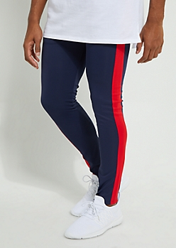 Navy Color Block Side Stripe Tricot Pants
