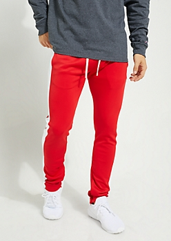 Red Color Block Side Stripe Tricot Pants