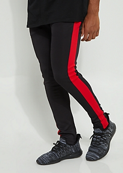 Black Color Block Red Side Stripe Tricot Pants