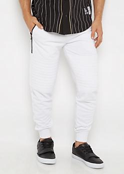 White Moto Knit Jogger