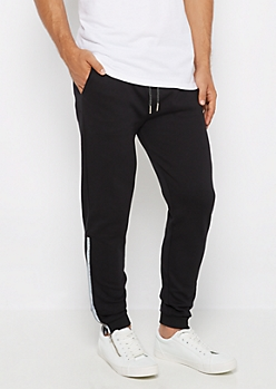 Black Reflective Zipper Accent Jogger