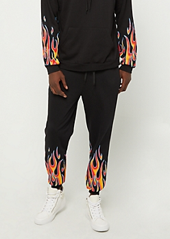 Black Flame Print Soft Knit Jogger