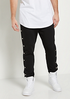 Black Snap Button Moto Jogger