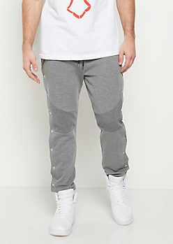 Heather Gray Snap Button Moto Jogger