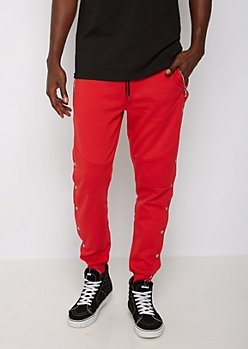 Red Snap Button Moto Jogger