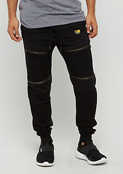 Black Zipped Moto Jogger by Caliber