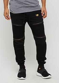 Black Zipped Moto Jogger by Caliber
