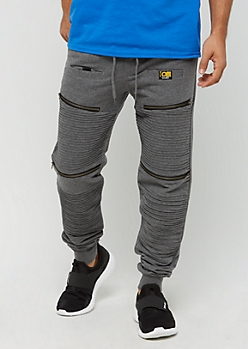 Charcoal Gray Zipped Moto Jogger by Caliber