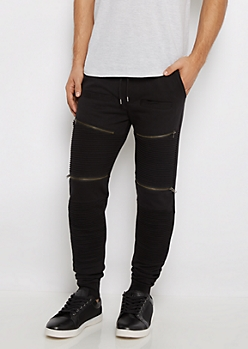 Black Zipper Moto Quilted Jogger
