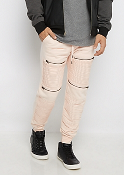 Pink Zipper Moto Quilted Jogger