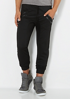 Black Double Zip Jogger