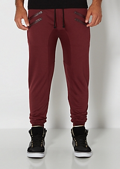 Burgundy Double Zip Jogger
