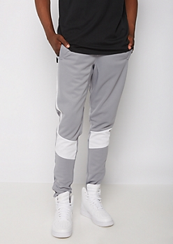 Gray Solid Striped Jogger