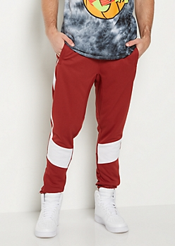 Red Solid Striped Jogger