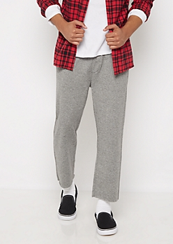 Charcoal Gray Marled Cropped Sweatpant