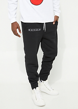 Black Savage Sherpa Lined Knit Joggers