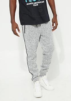 White Piped Marled Soft Jogger