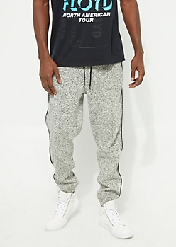Oatmeal Marled Piped Fleece Knit Joggers