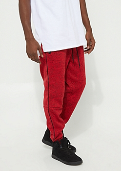 Red Marled Knit Fleece Joggers