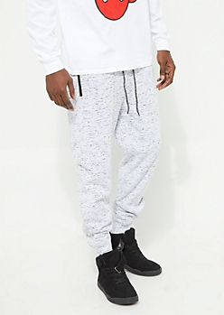 Heather Gray Sherpa Lined Knit Joggers