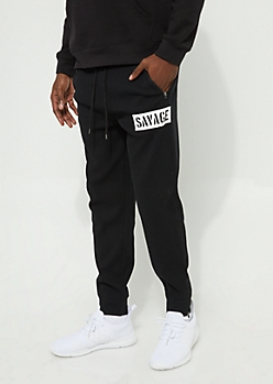 Savage Black Thermal Knit Jogger