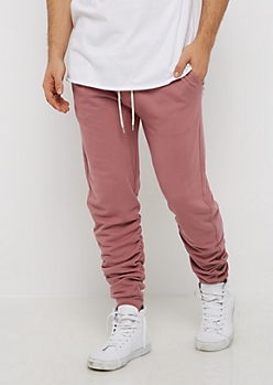 Dark Pink Ruched Jogger