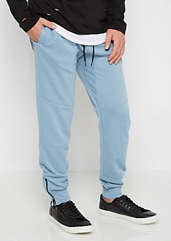 Blue Zip Ankle Pieced Fleece Jogger
