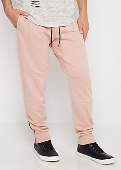 Pink Zip Ankle Pieced Fleece Jogger