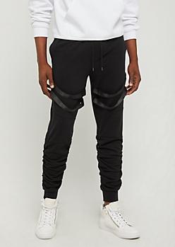 Black Strapped Jogger