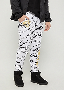 White Marble Hustle Foiled Joggers