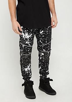 Black Paint Splattered & Zipped Moto Jogger