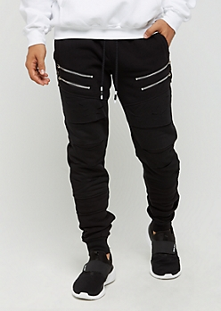 Black Zipped Panel & Ripped Jogger