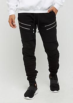 Black Zipped Panel & Ripped Jogger