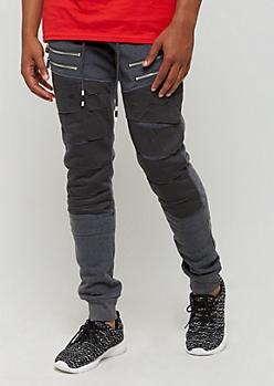 Charcoal Gray Zipped Panel & Ripped Jogger