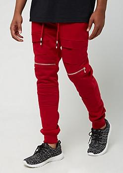 Red Slashed Zip Pocket Jogger
