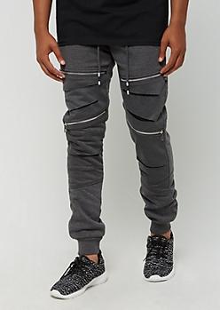 Charcoal Gray Zipped & Slashed Jogger