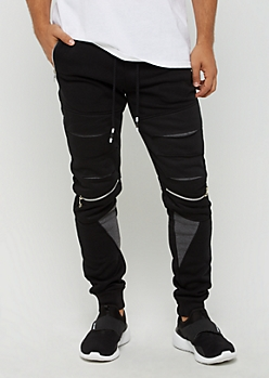 Black Slashed Zip Pocket Jogger