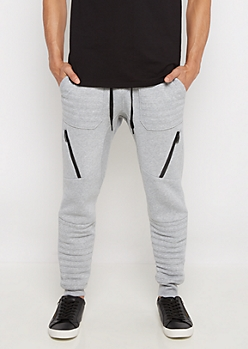 Gray Moto Fleece Jogger