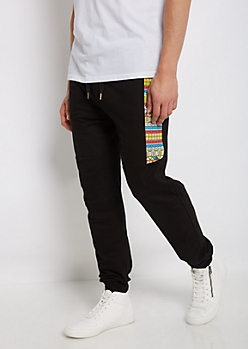 Black Tribal French Terry Jogger