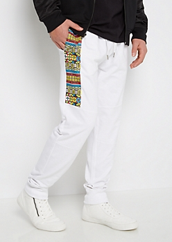 White Tribal French Terry Jogger