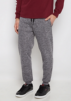 Black Marled Sherpa Lined Jogger