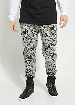 Gray Space Dye Paint Splattered Knit Joggers