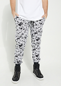 White Space Dye Paint Splattered Knit Joggers