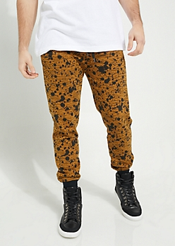 Camel Space Dye Paint Splattered Knit Joggers