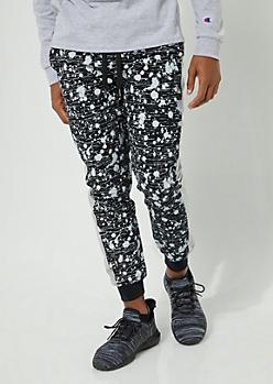 Black Side Stripe Paint Splattered Knit Joggers