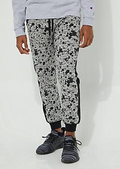 Gray Side Stripe Paint Splattered Knit Joggers
