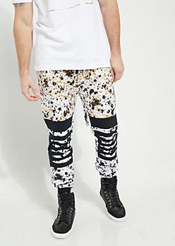 White Metallic Paint Splattered Slashed Knee Knit Joggers