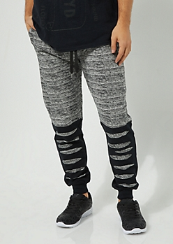 Heather Gray Space Dye Slashed Knit Joggers